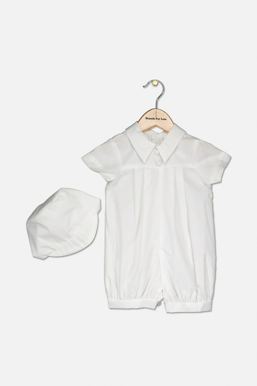 Baby Boy's Christening Baptism Polished Short Romper, White