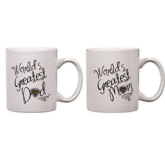 Red Heart Coffee Mugs Cups Set, White