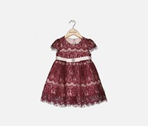 Toddlers Girls Allover Lace Fit & Flare Dress, Maroon