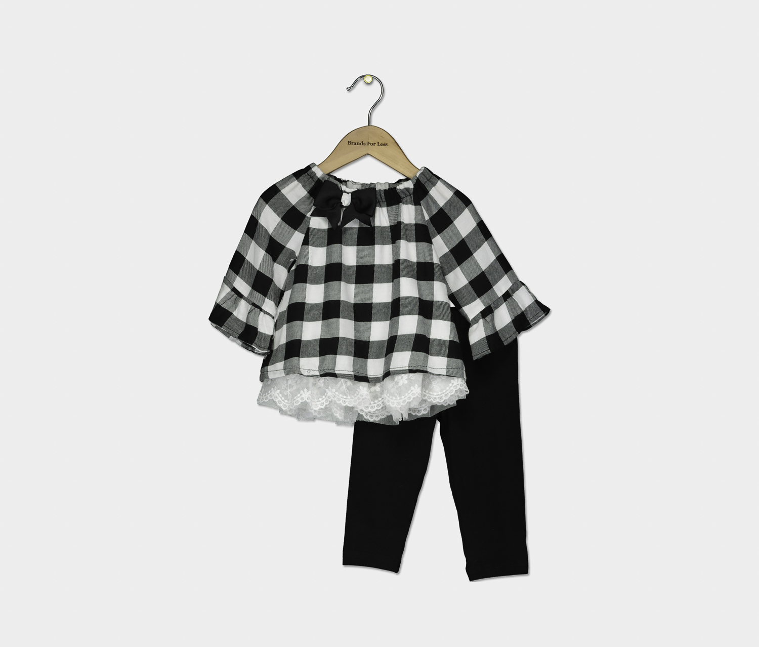 Toddlers Girls 2-Pc. Check-Print Set, Black/White