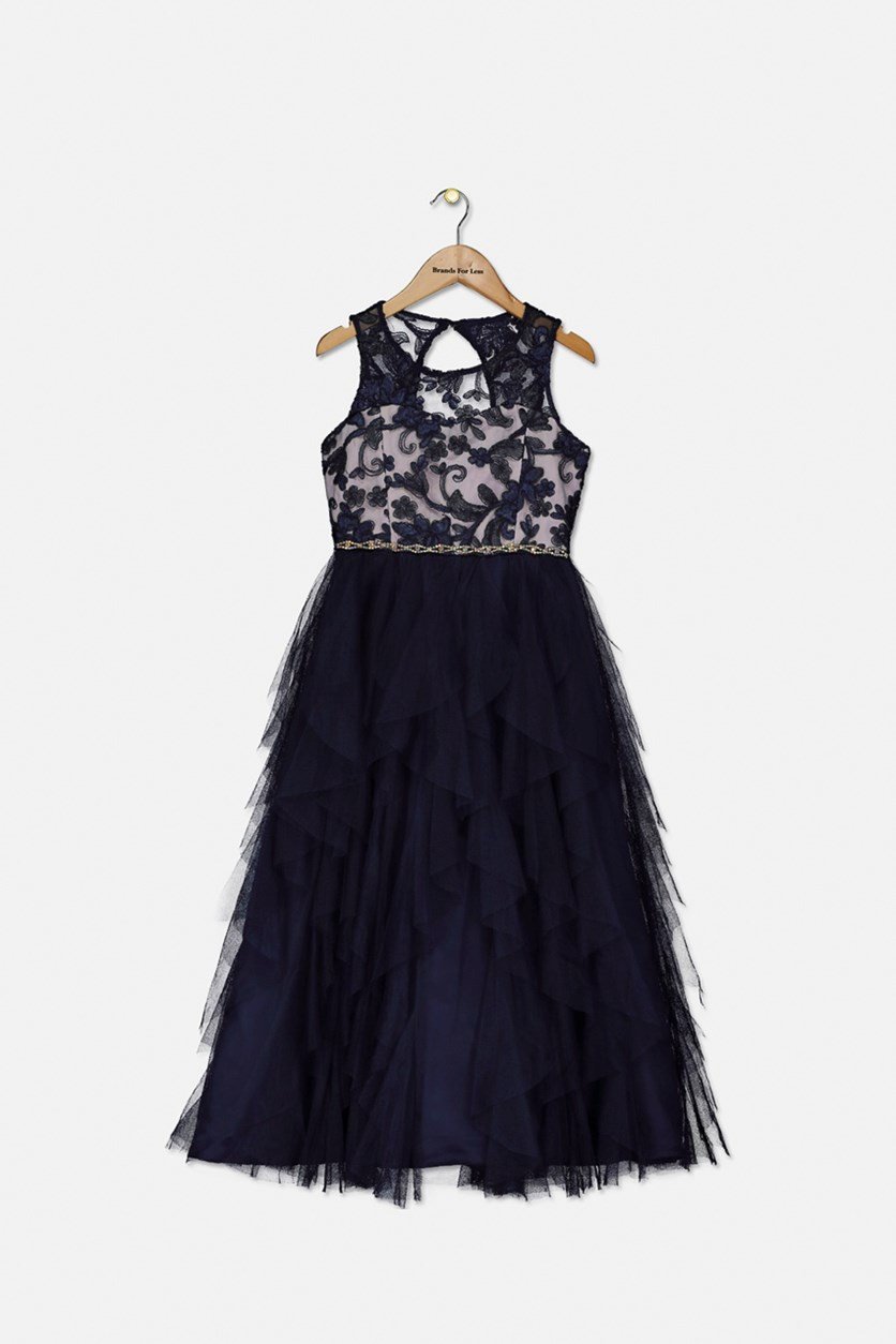 Big Girl's Embroidered Sequin Dress, Navy
