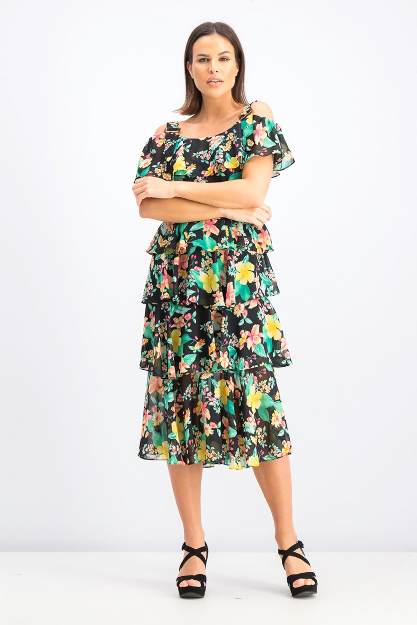 Cold Shoulder Floral Print Tiered Dress, Black