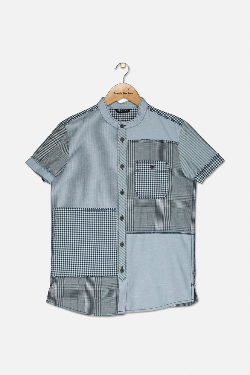 Boy's Plaid Band Collar Shirt, Blue/Navy/Light Blue