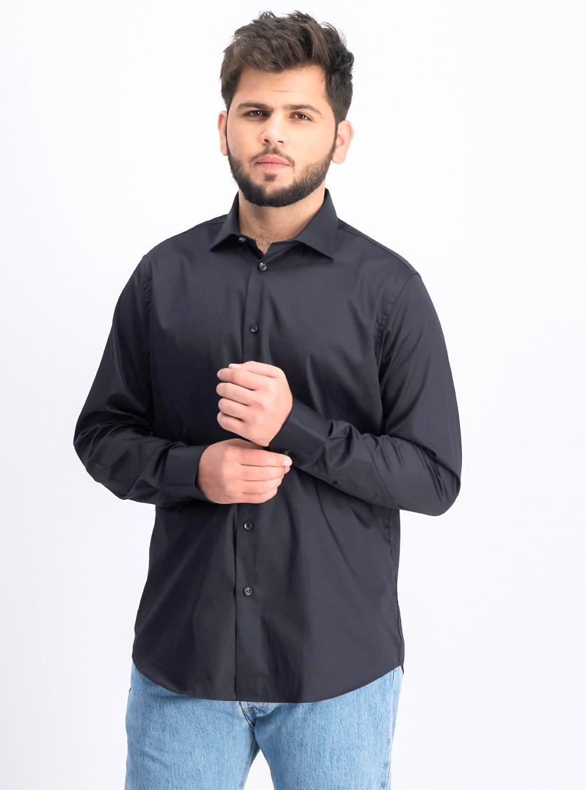 Men's Camicia Comfort Fit Long Sleeves Dress Shirt, Black