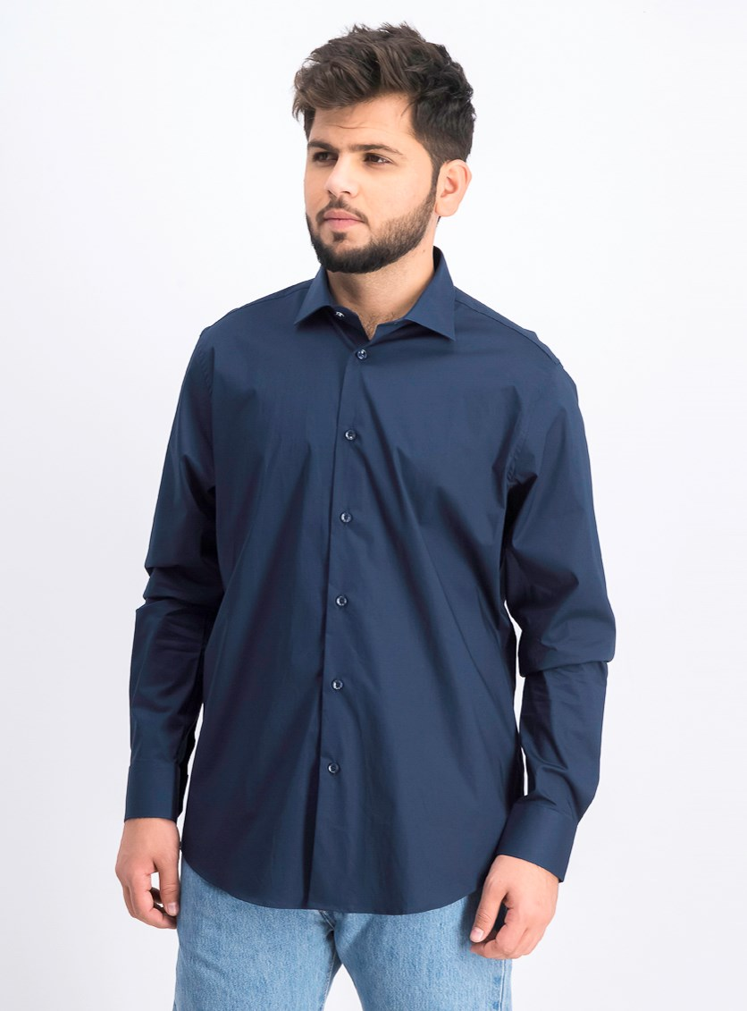 Men's Camicia Comfort Fit Long Sleeves Dress Shirt, Navy