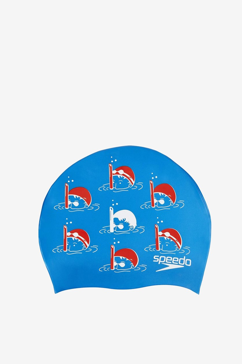 Junior Slogan Swimming Cap, Blue/Red