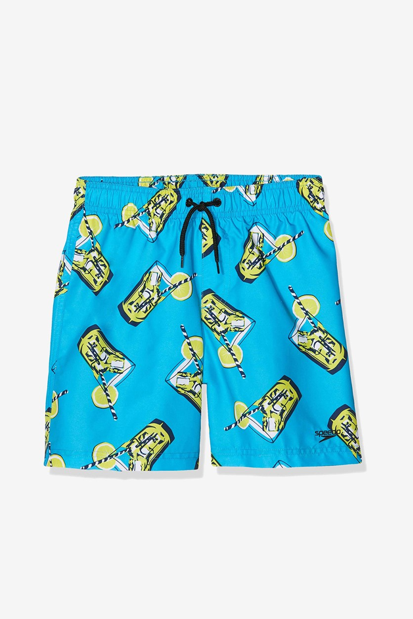 Boy's Printed Leisure Swim Shorts, Blue/Yellow