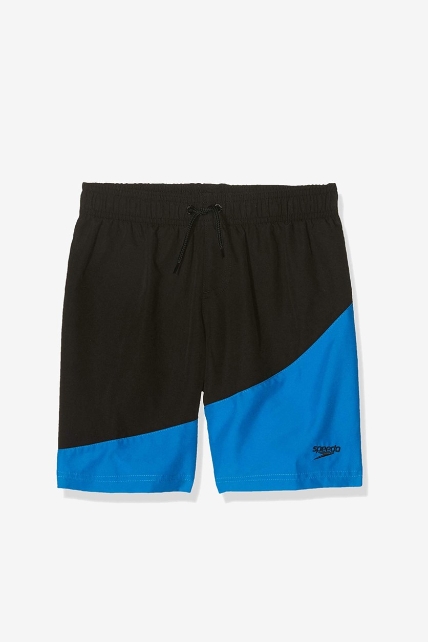 Boys' Colorblock Swim Shorts, Black/Blue