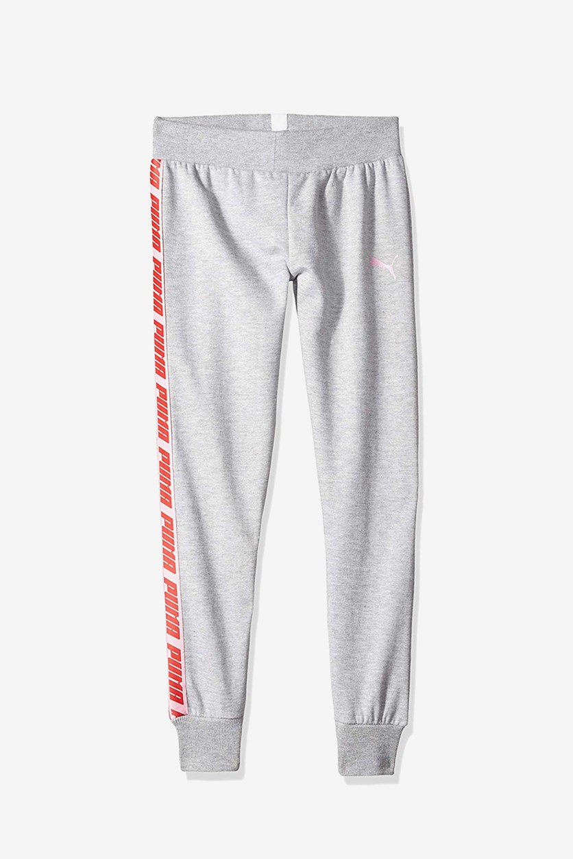 Kids Girls Heather Pants, Grey/Pink