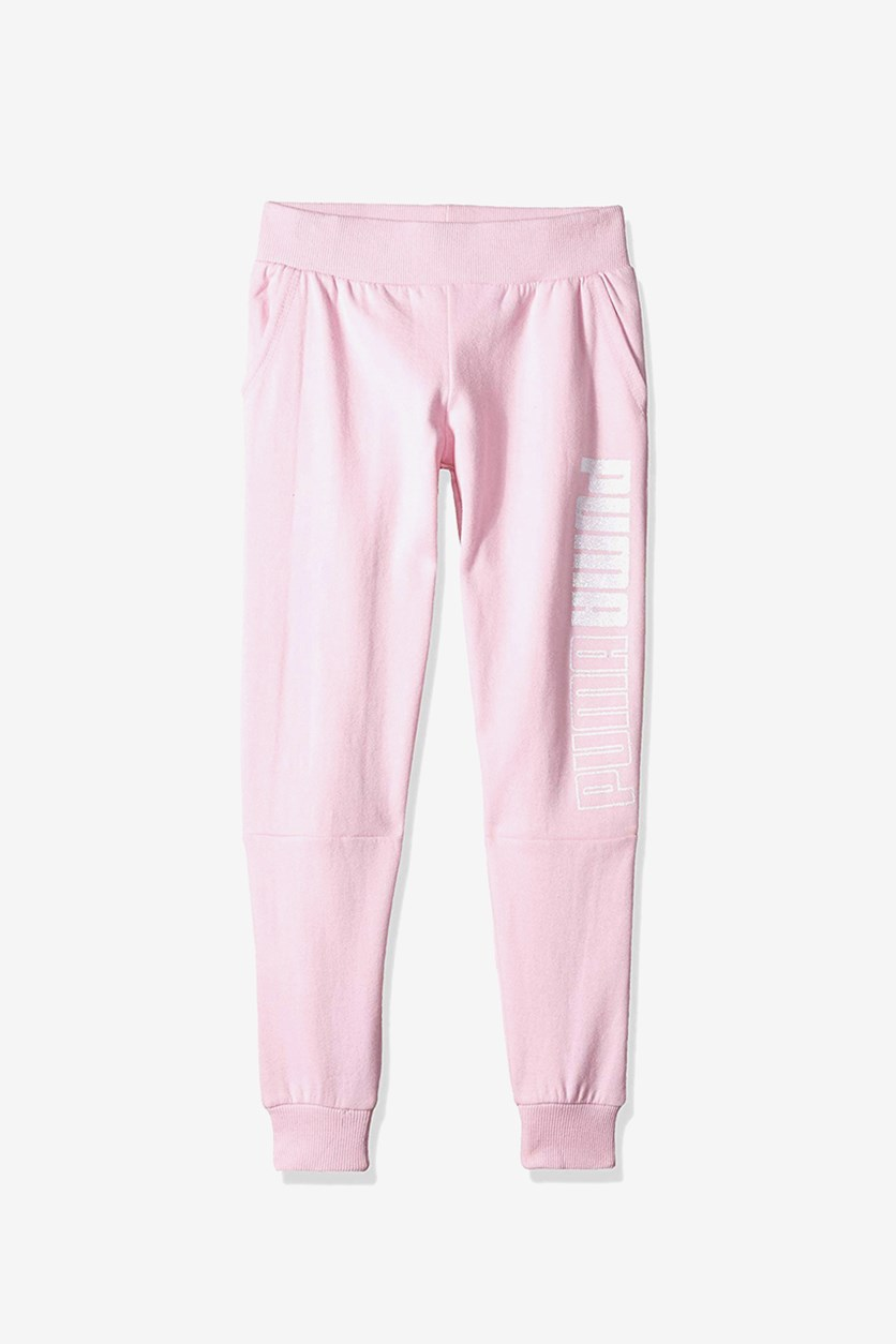 Kids Girls Pull On Jogging Pants, Pink/White