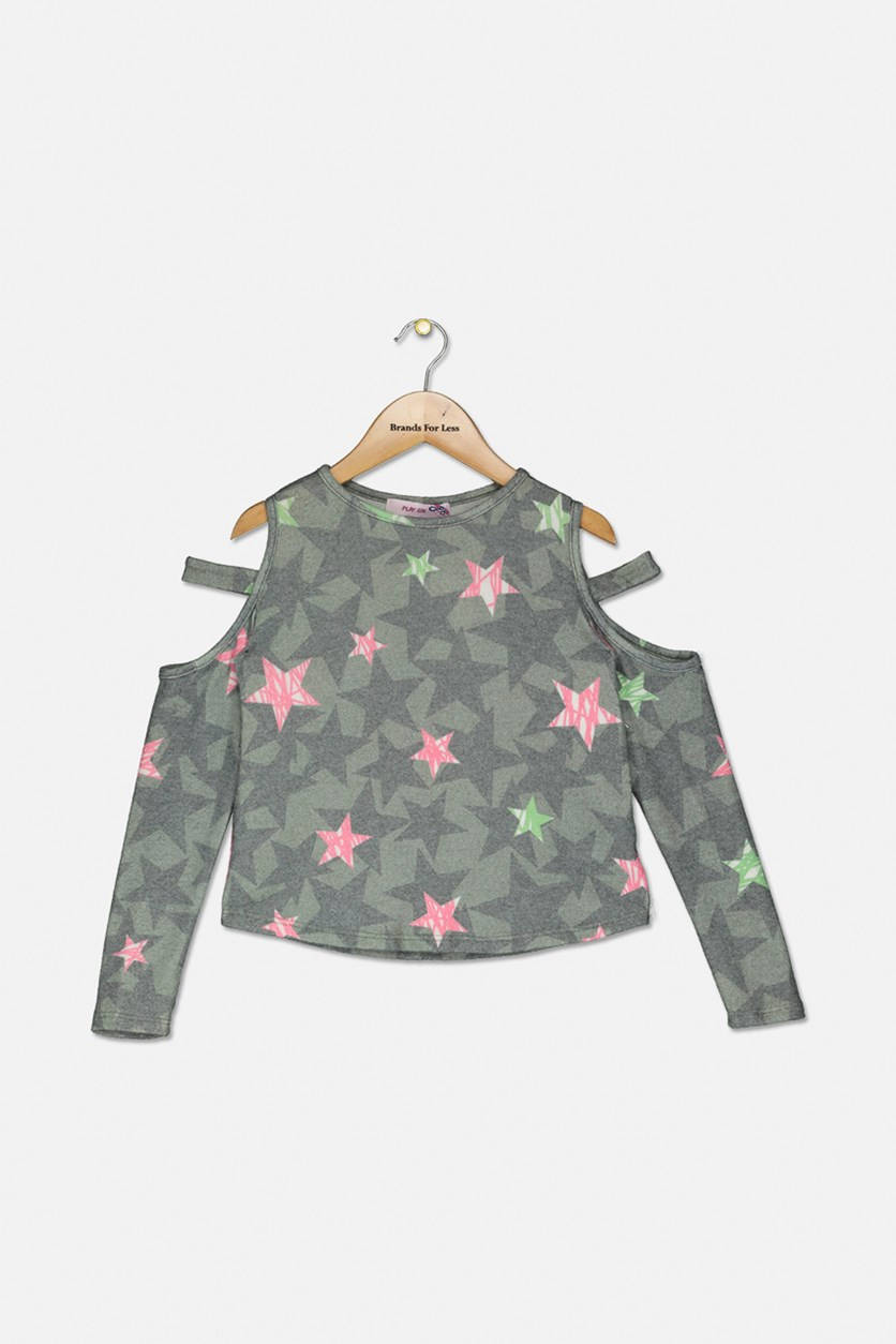 Girls' Camo-Print Star Cutout Top, Olive Combo