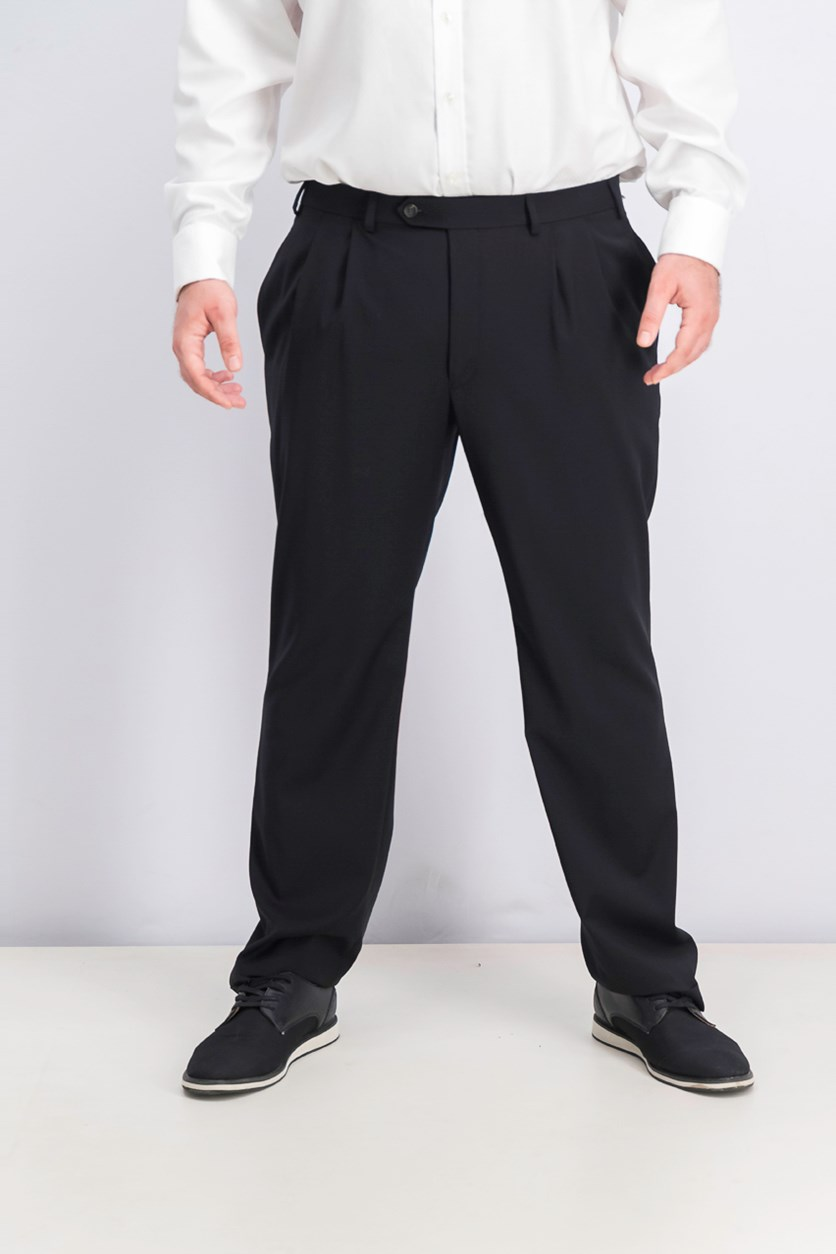 Mid-Weight Pleated Wool Trouser Pants, Black