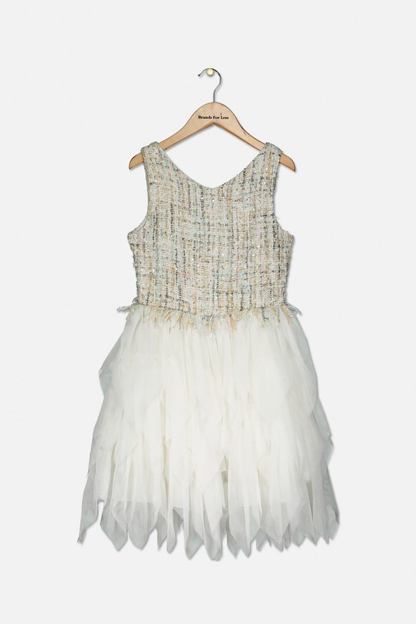 Big Girl's Tweed Tulle Fit & Flare Dress, Off White