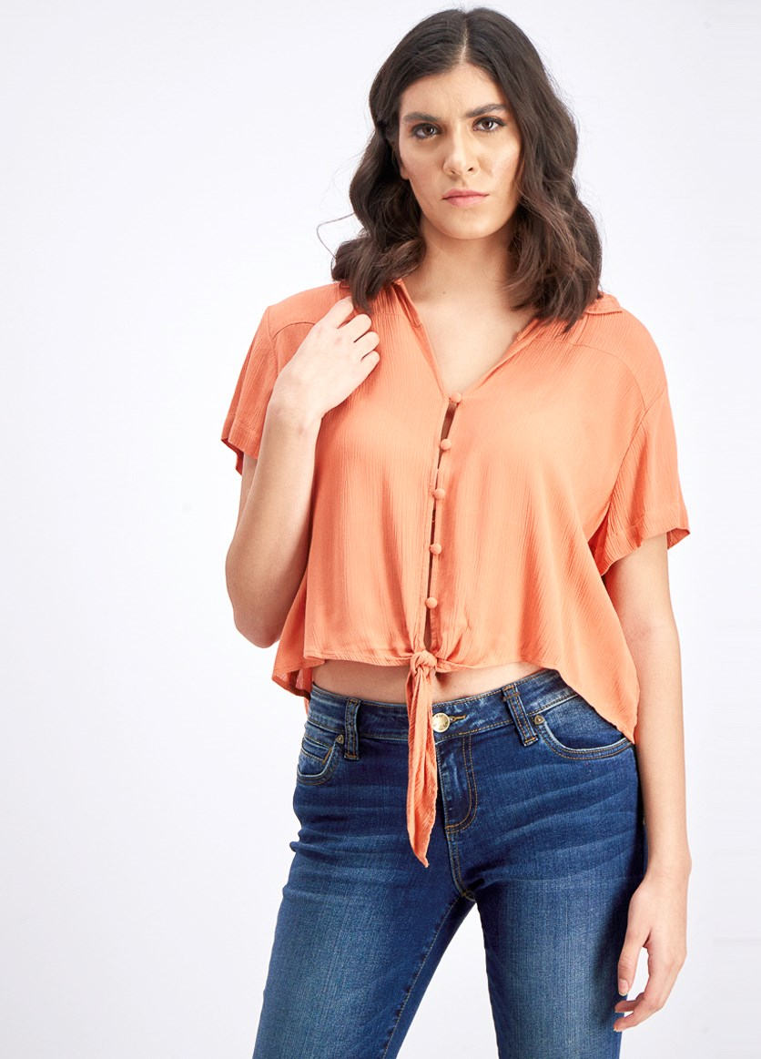 Women's Tie Hem Button Down Top, Orange