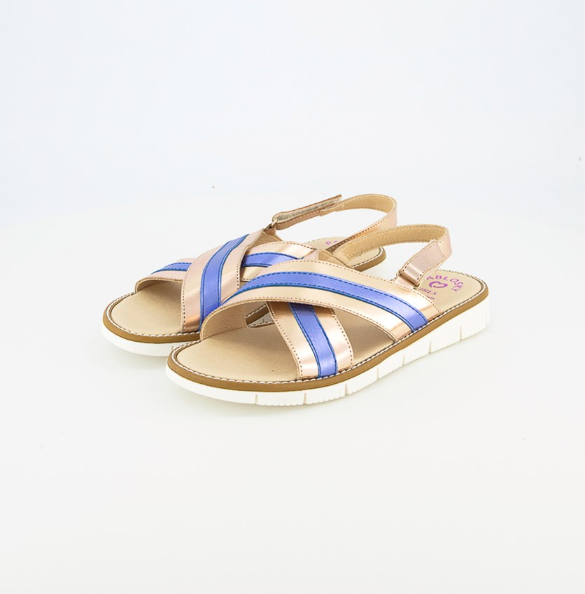 Kids Girl's Albir cobre Sandals, Rose Gold/Blue