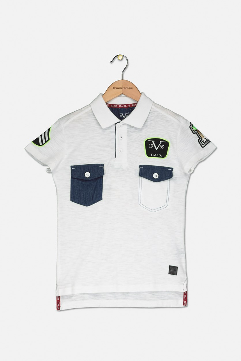 Kid's Boys Two Chest Pocket Polo Shirt, White