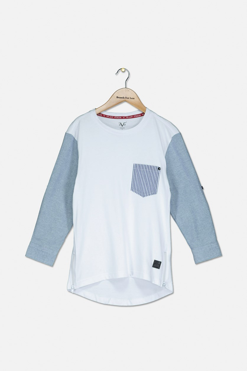 Kid's Boys Chest Pocket Long Sleeve T-Shirt, White/Blue