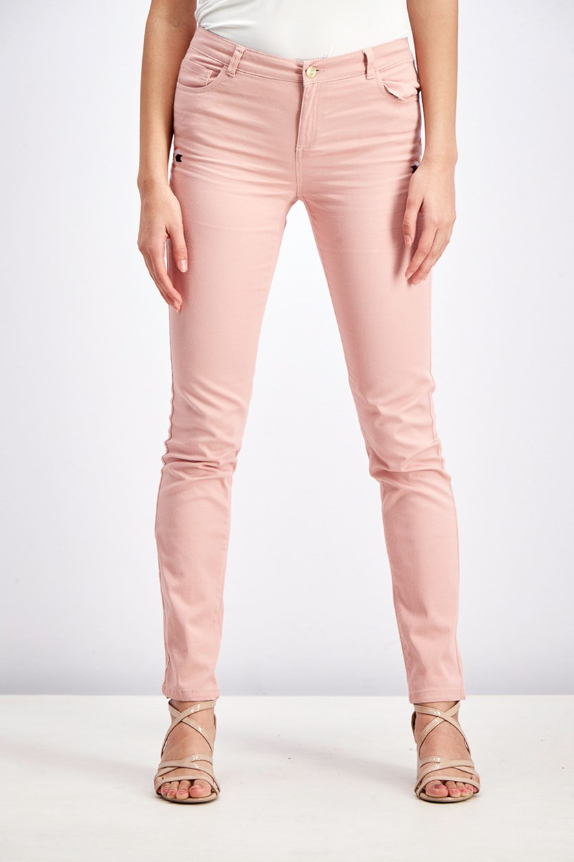 Women's Embroidered Jeans, Peach