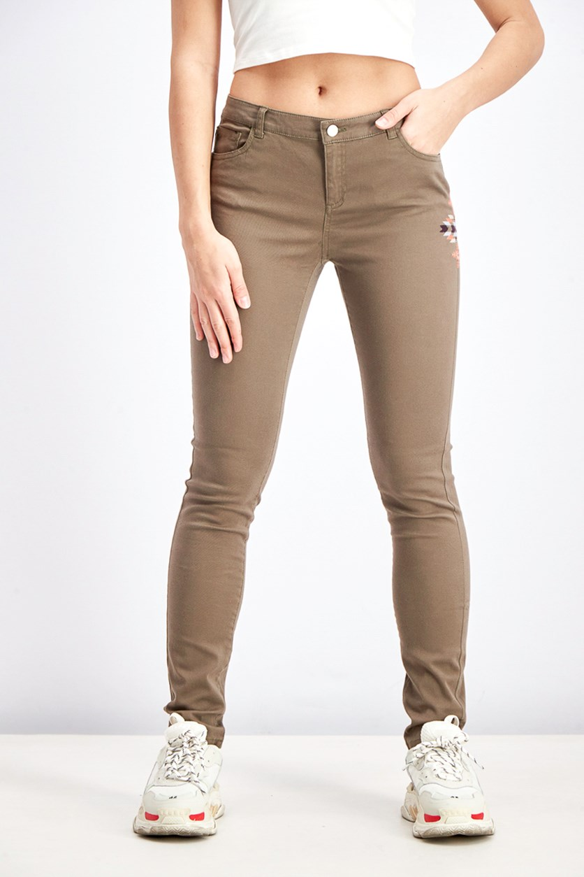 Women's Embroidered Jeans, Olive