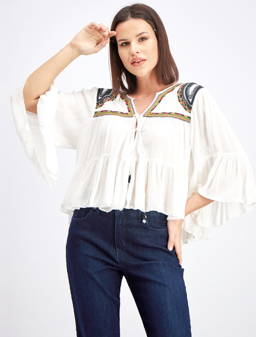 Women's Embroidered Bell Sleeve Blouse, Off White