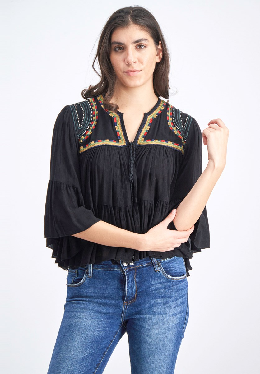 Woman's Embroidered Bell Sleeve Top, Black