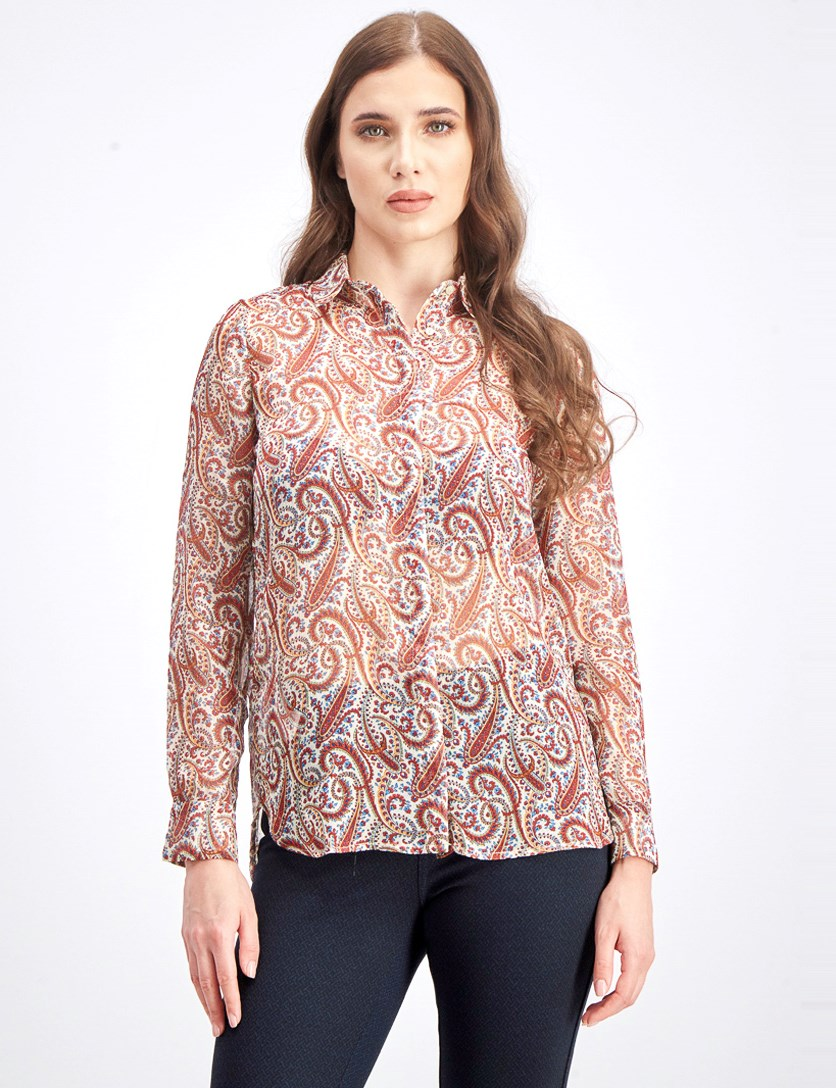 Women's Allover Print Blouse, Brown Combo