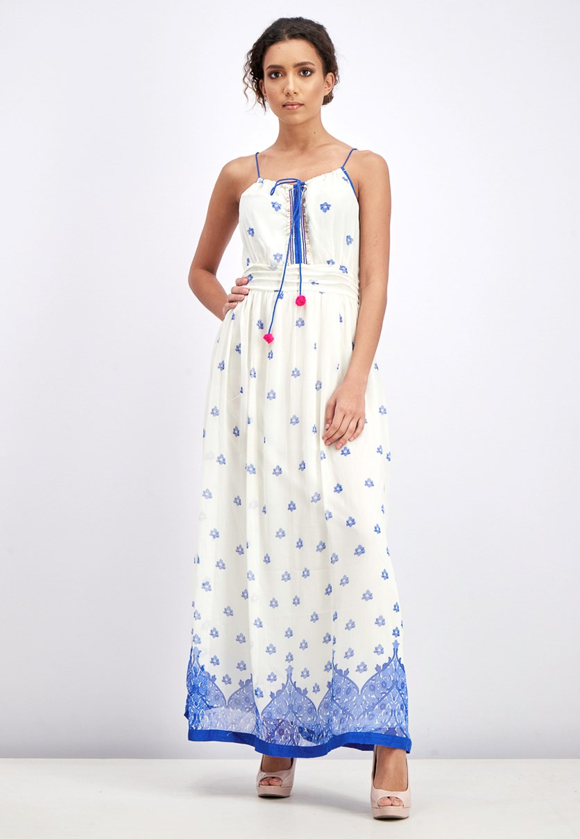 Women's Sleeveless Maxi Dress, Ivory/Blue