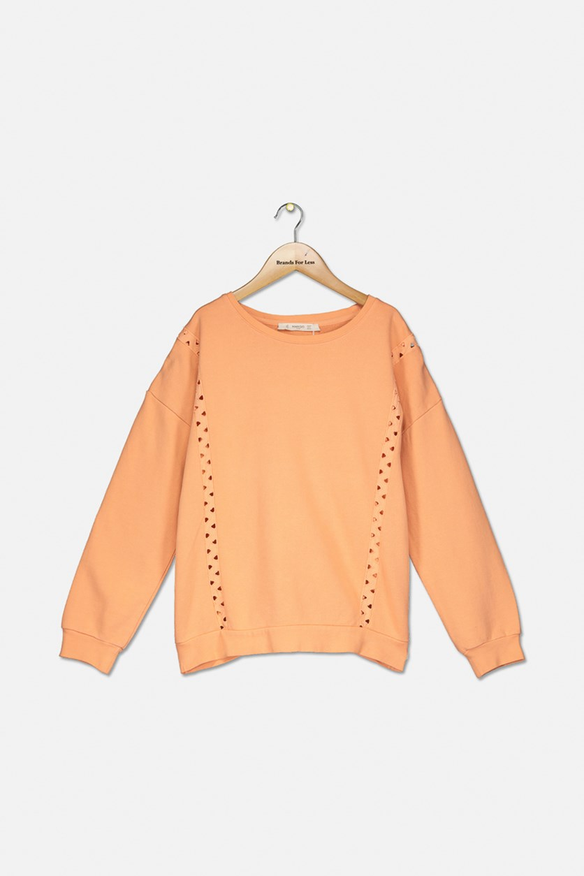 Kids Textured Pattern Pullover Sweater, Orange