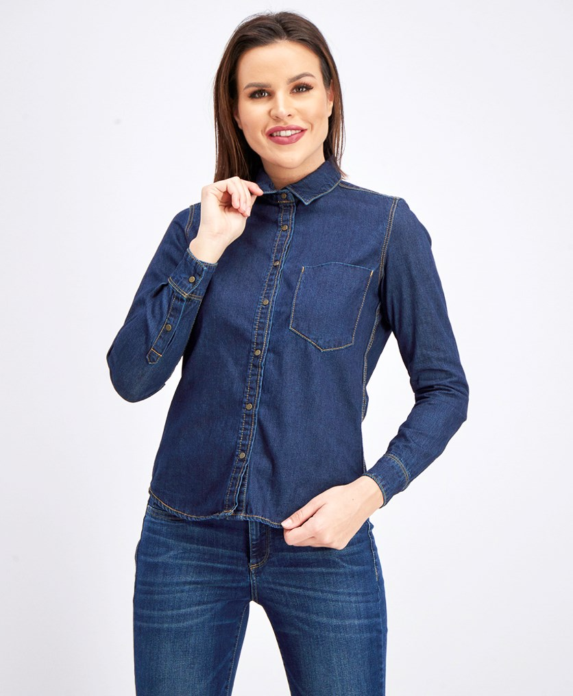Women's Denim Longsleeve Blouse, Denim Blue