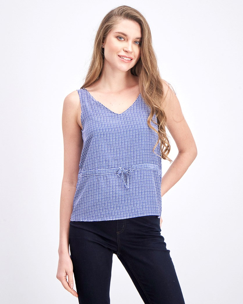 Women's V Neck Sleeveless Top, Navy/White