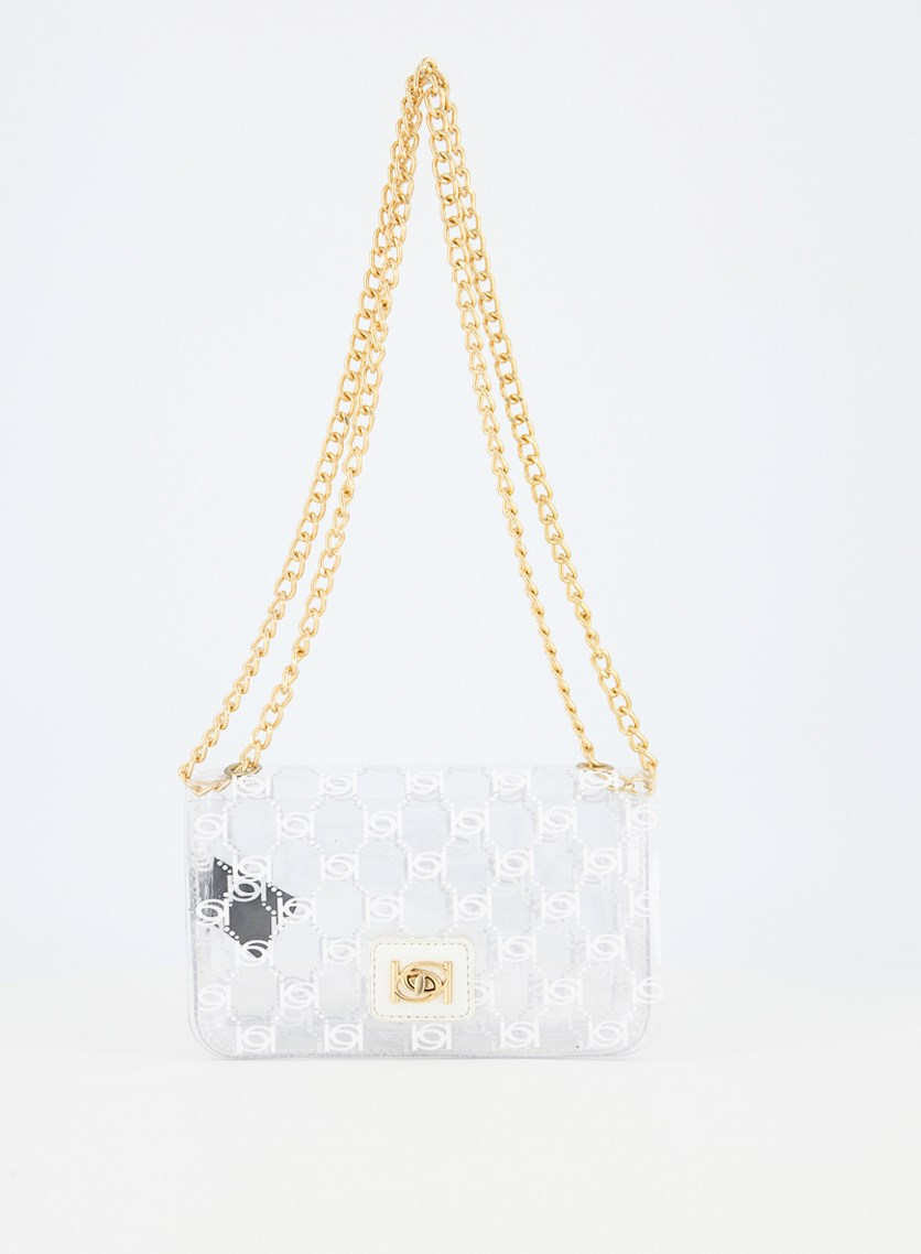 Women's Cassie Cross Body Bag, Clear White Logo