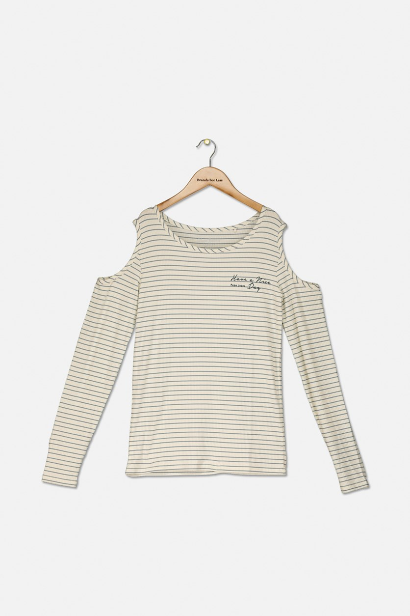 Girls Pullover Stripe Tops, Cream/Grey