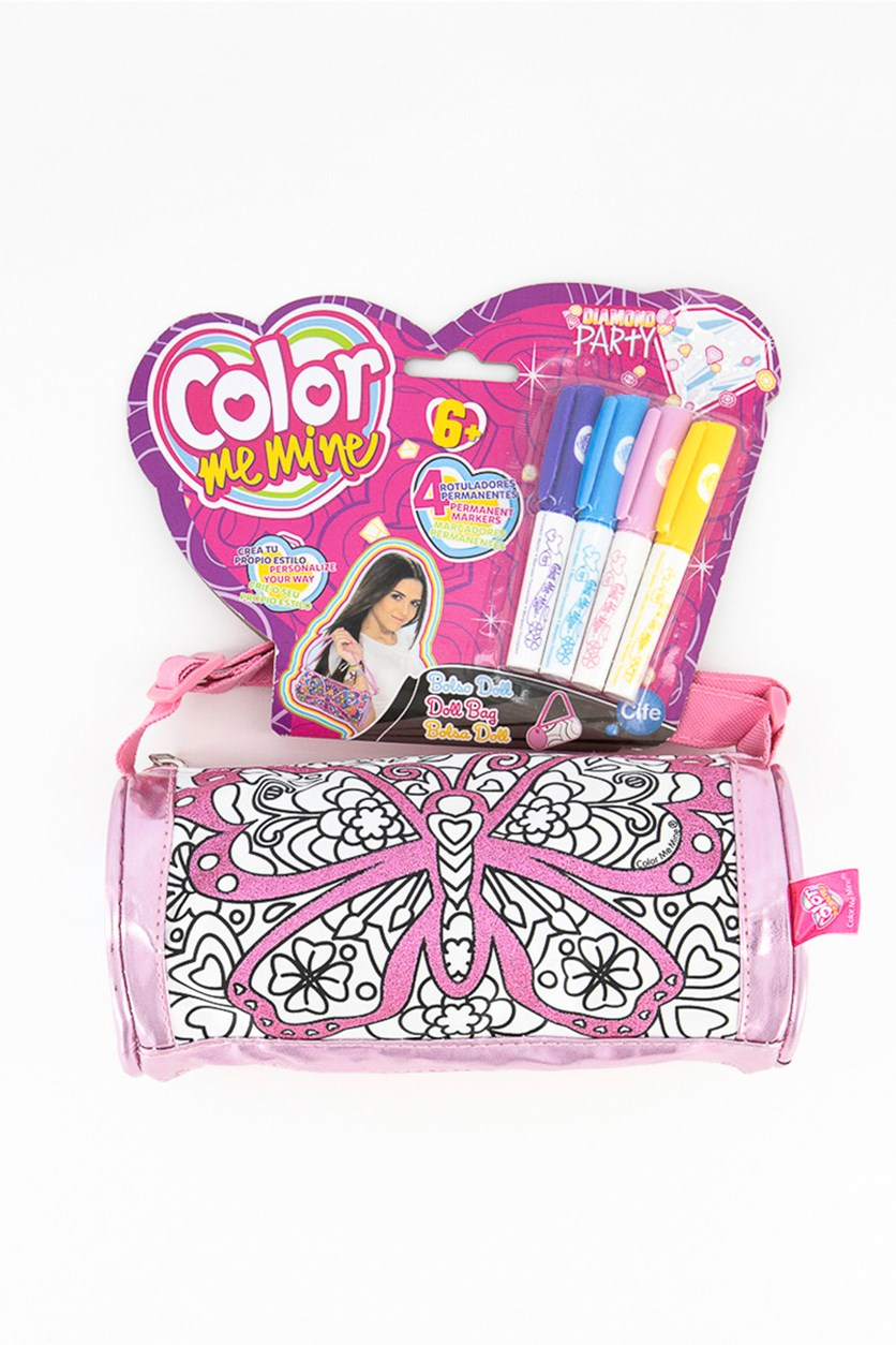 Kids Girls' Doll Cylindrical Bag with Pens, Pink Combo