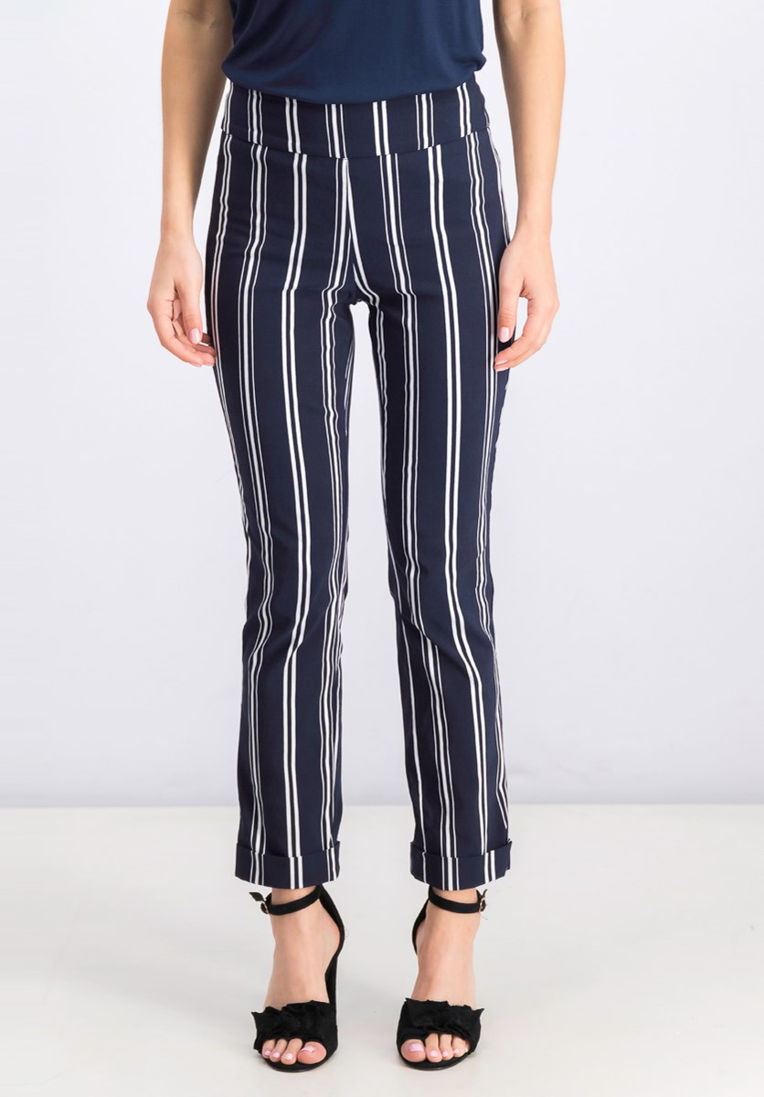 Women's Printed Cuffed Cropped Trouser, Navy/White