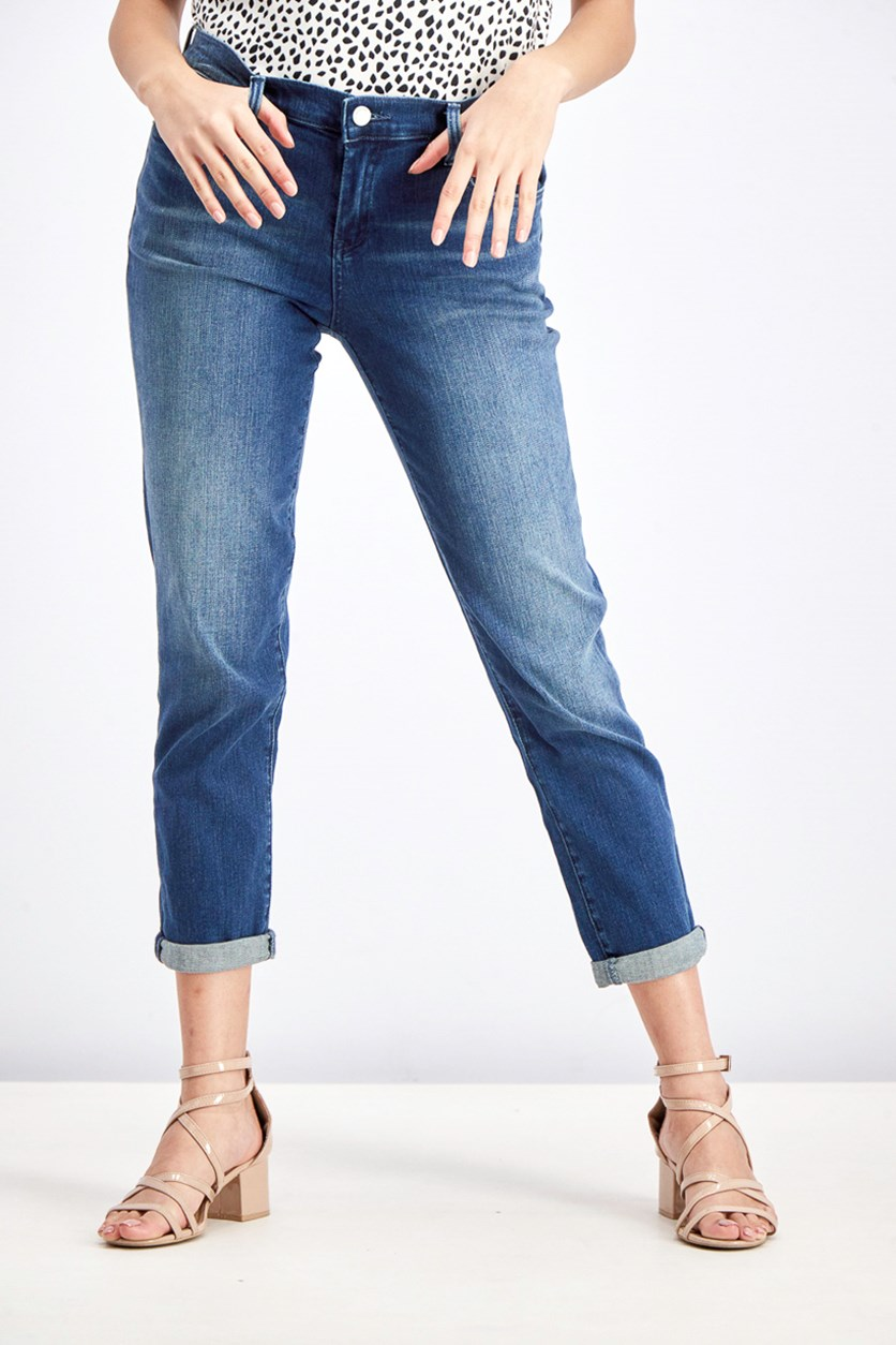 Women's The Ludlow Crop Girlfriend Jeans, Wash Indigo
