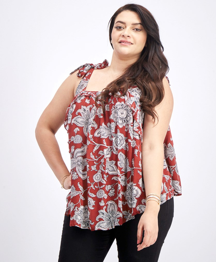 Women's Printed Ruffle Top, Brown Combo
