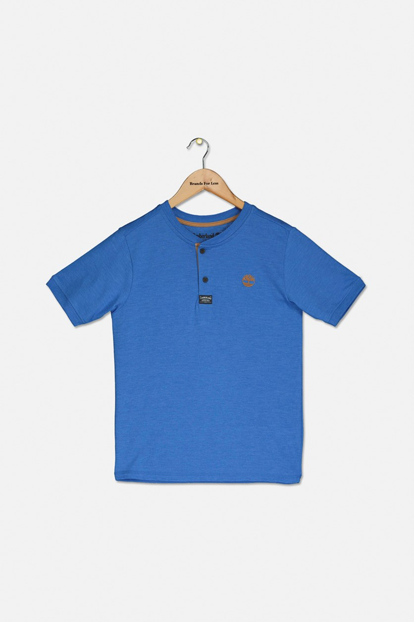 Kids Boys Henley Shirt, Strong Blue