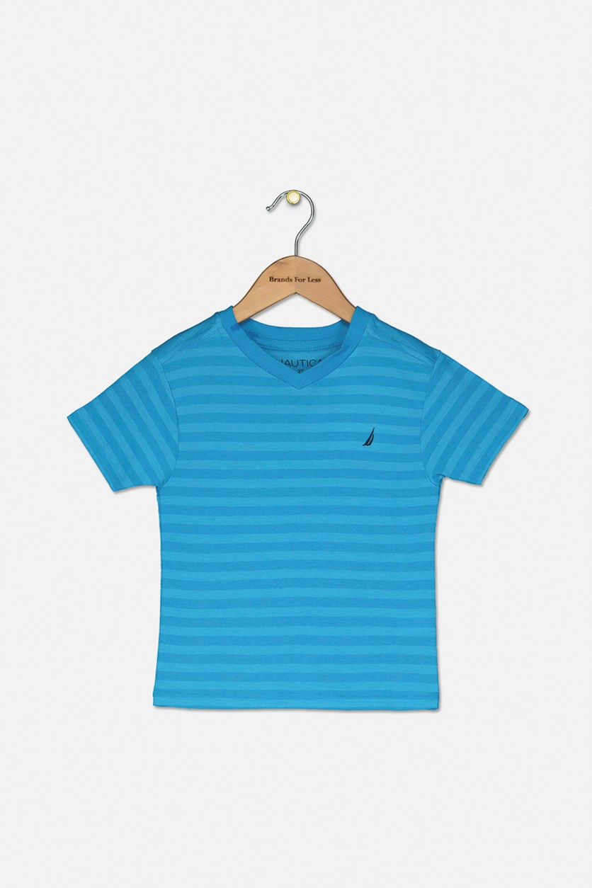 Toddler Finn Stripe V-Neck Tee, Ocean