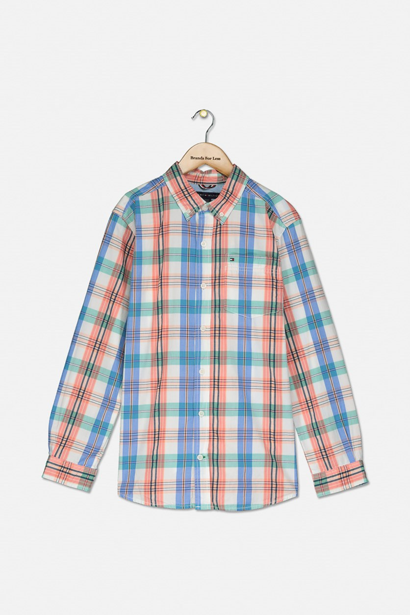 Big Boys Vincent Plaid Shirt, Bright White Combo