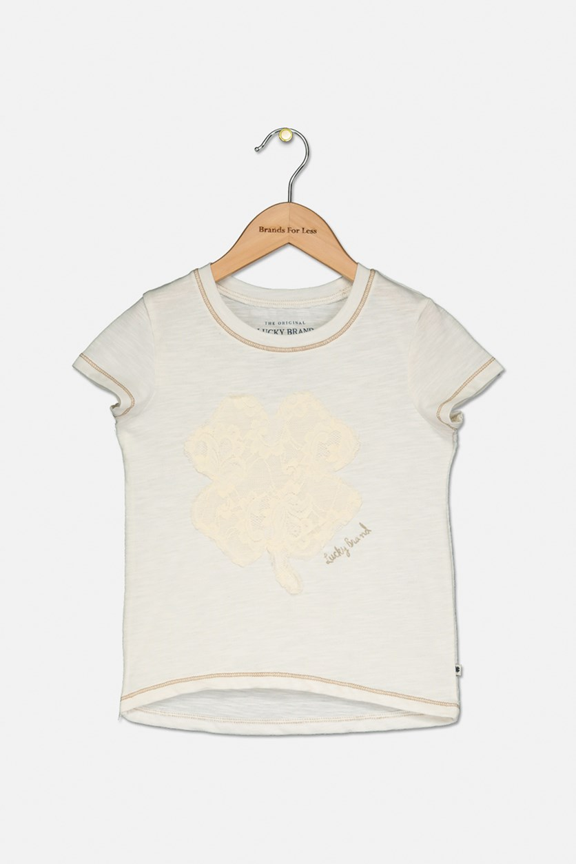 Girls Lace Logo Brand Airianne T-Shirt, Whisper White