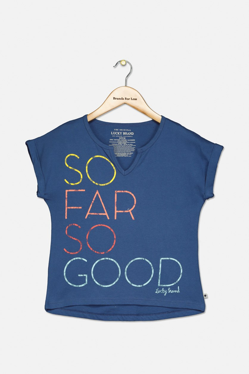 Girls So Far So Good Leona T-Shirt, BLue