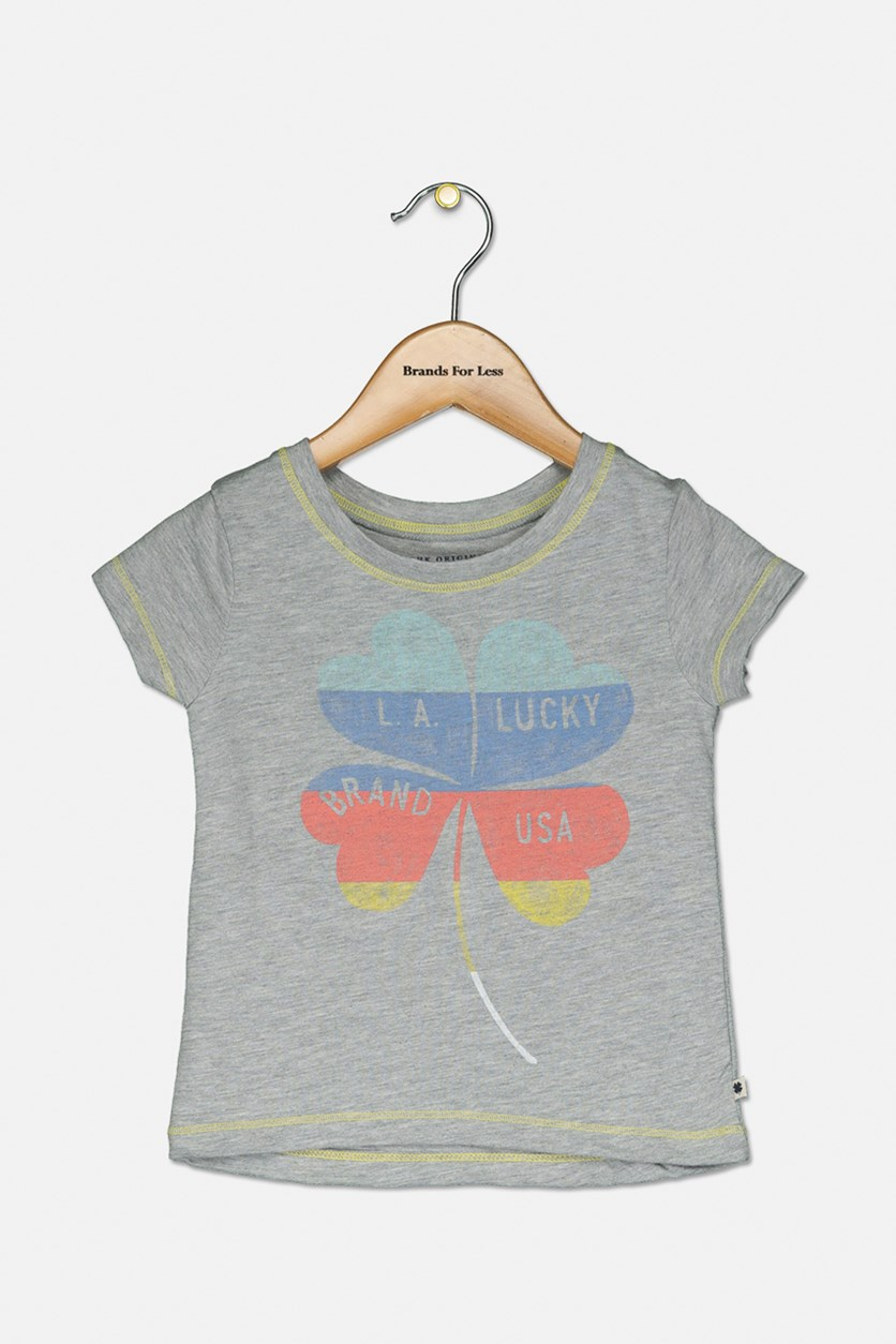 Toddlers Girls Graphic T-Shirt, Cool Grey Heather