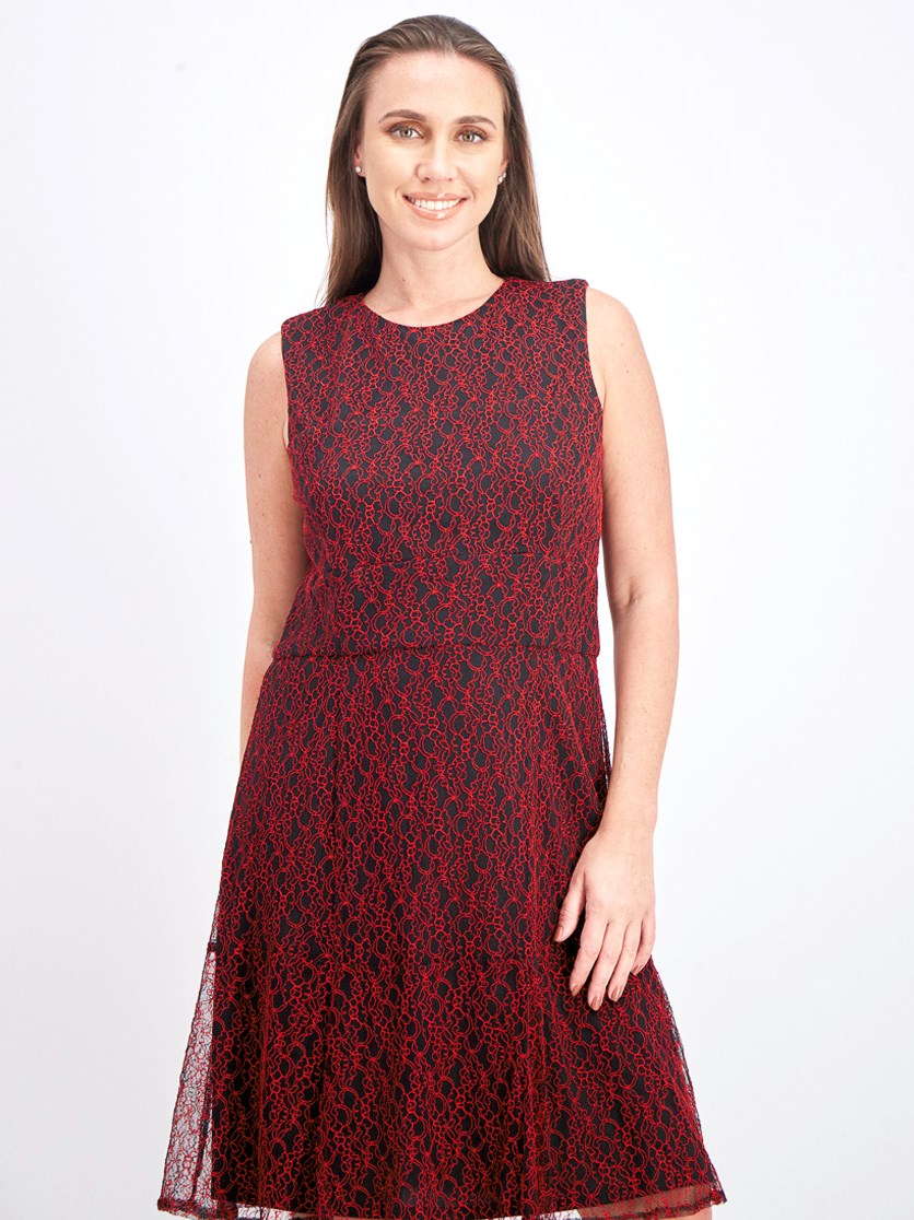 Women's Ellie A-line Lace Dress, Black/Red