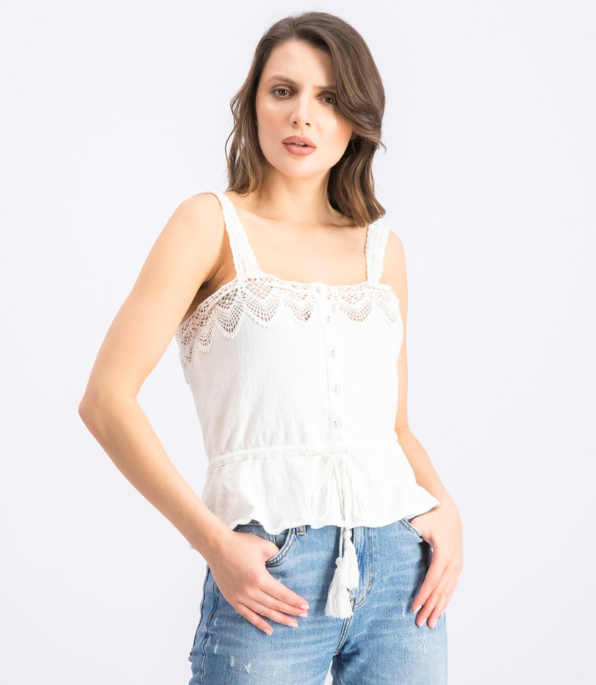 Women's Crochet Tank Top, Off White