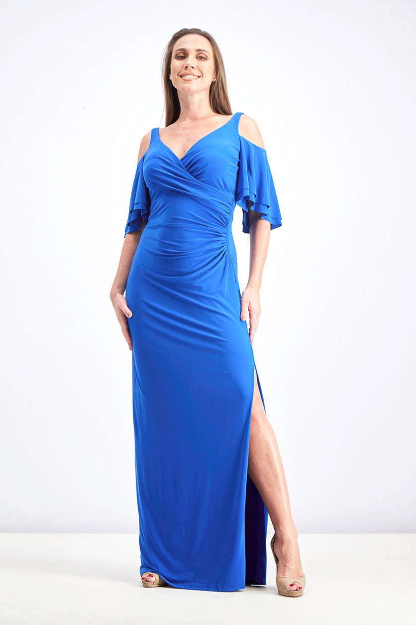 Women's Cold-Shoulder Jersey Gown, Blue