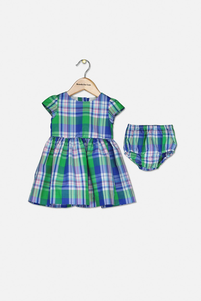 Baby Girls Plaid Tartan Dress, Blue/Green