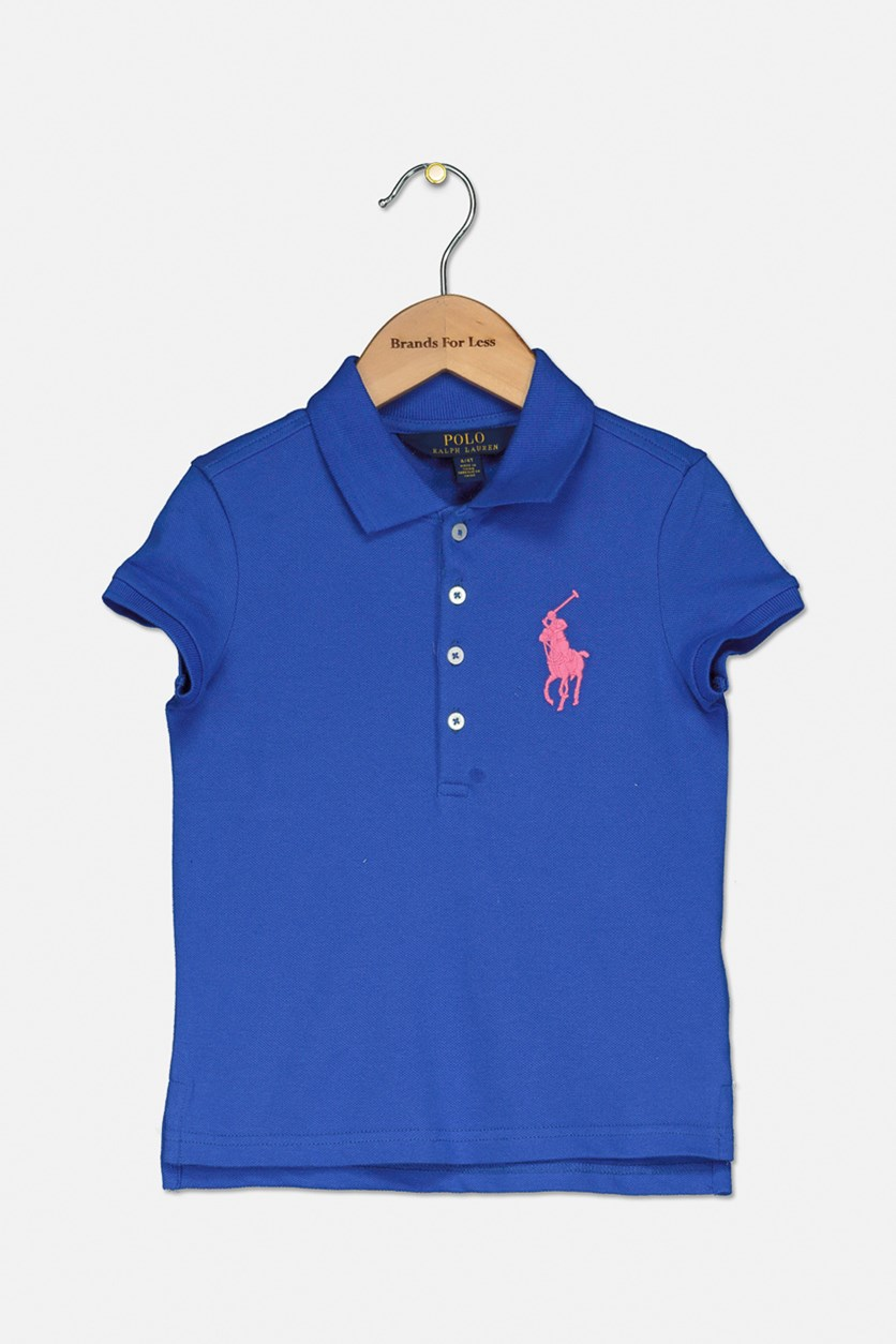 Toddler Girl's Pony Stretch Mesh Polo Shirt, Blue