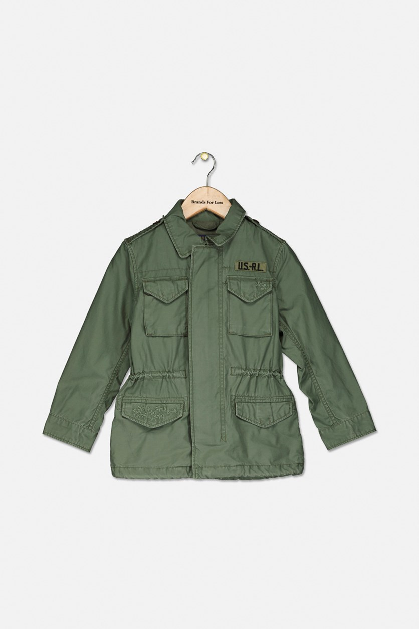 Little Girls Twill Military-Inspired Cotton Jacket, Olive