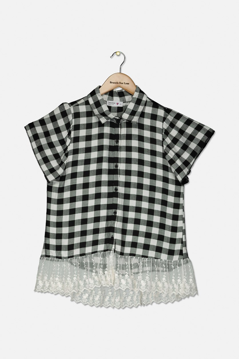 Big Girls Lace-Hem Plaid Shirt, Black