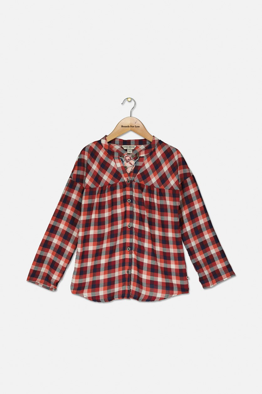 Girl's Gingham Top, Rust Combo